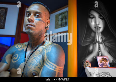 Tahiti Tattoo shop in Papeete city. Tahiti, French Polynesia, Papeete's harbour, Tahiti Nui, Society Islands, French - Stock Photo