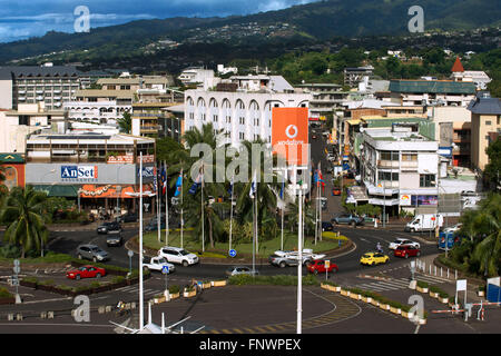 Overview of Papeete city. Tahiti, French Polynesia, Papeete's harbour, Tahiti Nui, Society Islands, French Polynesia, - Stock Photo