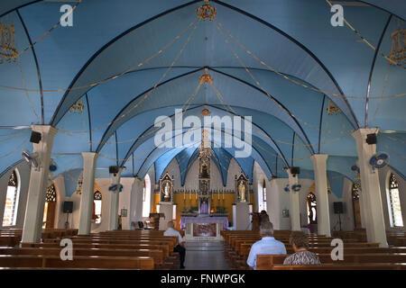 Inside Rotoava church in Fakarava, Tuamotus Archipelago French Polynesia, Tuamotu Islands, South Pacific. - Stock Photo