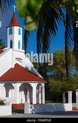 Rotoava church in Fakarava, Tuamotus Archipelago French Polynesia, Tuamotu Islands, South Pacific. - Stock Photo