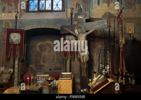 Lamentation of Christ (Pieta). Mural painting by Russian icon painter Andrei Ryazanov (1885-1950) and the Crucifix - Stock Photo