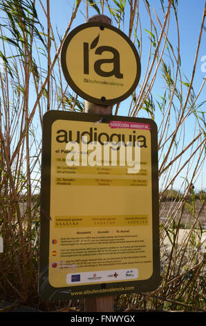 info about using audio guide to Albufera Valencia Spain - Stock Photo