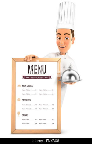 3d head chef with the restaurant menu and holding cloche, isolated white background - Stock Photo