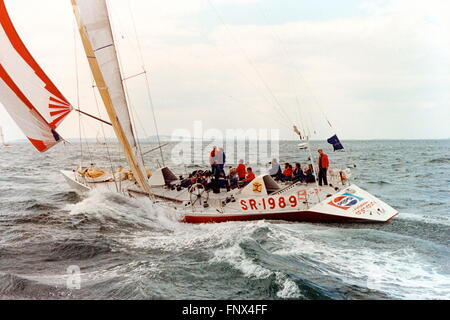 AJAXNETPHOTO. 1989. SOLENT, ENGLAND. FASTNET RACE - FAZISI OFF THE NEEDLES. RUSSIAN YACHT IS A WHITBREAD RACE ENTRY. - Stock Photo