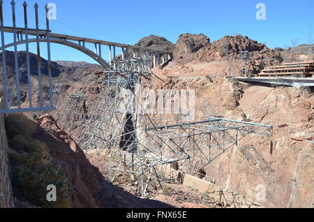 View of a component of the Hoover Dam facility on the border of Nevada and Arizona - Stock Photo