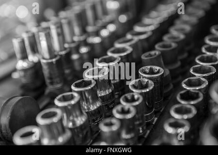 a mechnics sockets and spanner tools - Stock Photo