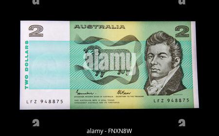 An Australian two dollar bank note - Stock Photo
