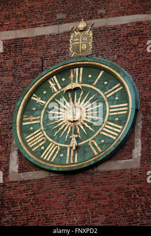 Clock on Wawel Cathedral bell tower in Krakow, Poland, 17th century - Stock Photo