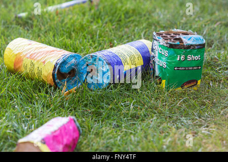Fireworks and sparklers left overnight in a garden after a family firework display on November the 5th, Bonfire - Stock Photo