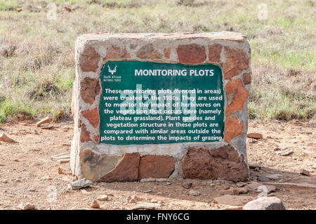 MOUNTAIN ZEBRA NATIONAL PARK, SOUTH AFRICA - FEBRUARY 17, 2016: An information plaque on the Rooiplaat Loop - Stock Photo