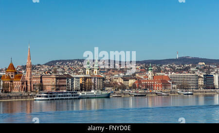 Budapest, Hungary - March 14, 2016: The Danube river and the buildings along the Buda side - Stock Photo