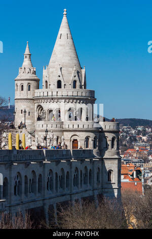 Budapest, Hungary - March 14, 2016: Tourists at the Fisherman's Bastion in Budapest, Hungary - Stock Photo