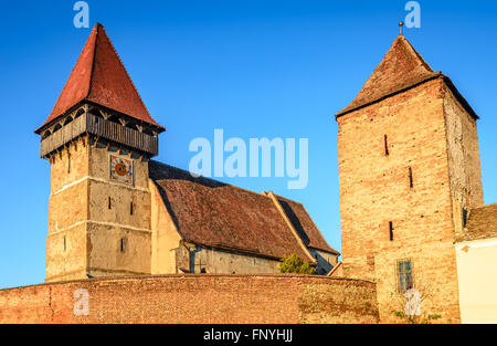 Brateiu, Sibiu, Transylvania. Evangelical fortified church from XIV century in the Tarnava Valley, Transylvanian - Stock Photo