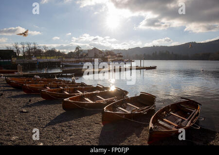 Lake Windermere, Cumbria, UK. 16th March, 2016. UK Weather: Lake Windermere -  Bowness Bay -Late aftrenoon -Last - Stock Photo