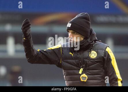 Dortmund coach Thomas Tuchel leading a training session at the White Hart Lane stadium in London, UK, 16 March 2016. - Stock Photo