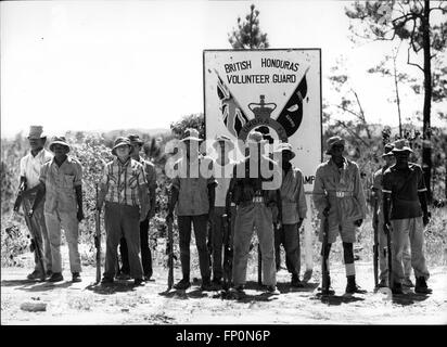 1962 - On parade - British Honduras Volunteer Guard, soon to be backed up with 4,000 British troops, aircraft and - Stock Photo