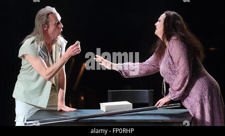 Magdeburg, Germany. 16th Mar, 2016. Roland Fenes (l) as Abraham and Undine Dreissig as Sarah perform on stage during - Stock Photo