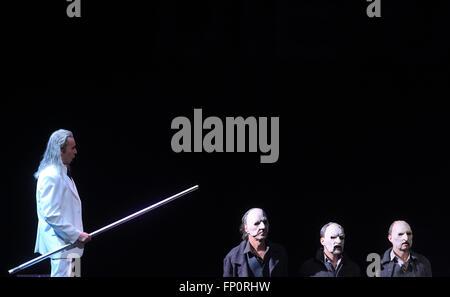 Magdeburg, Germany. 16th Mar, 2016. Singer Roland Fenes (l-r) as Abraham and actors Kim Schrader, Kai Preussker - Stock Photo