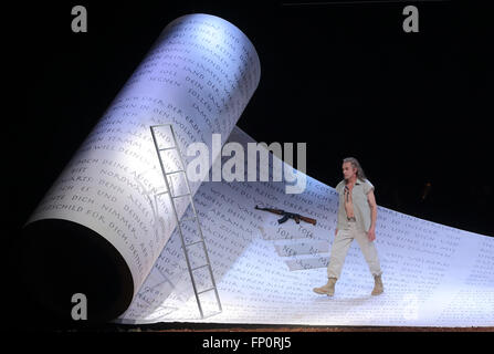 Magdeburg, Germany. 16th Mar, 2016. Roland Fenes as Abraham performs on stage during the dress rehearsal of the - Stock Photo