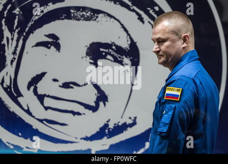 Baikonur, Kazakhstan. 17th Mar, 2016. International Space Station Expedition 47/48 main crew member, cosmonaut Alexei - Stock Photo