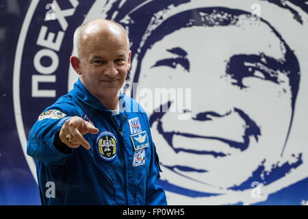 Baikonur, Kazakhstan. 17th Mar, 2016. International Space Station Expedition 47/48 main crew member, astronaut Jeffrey - Stock Photo