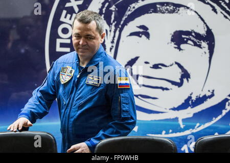 Baikonur, Kazakhstan. 17th Mar, 2016. International Space Station Expedition 47/48 main crew member, cosmonaut Oleg - Stock Photo