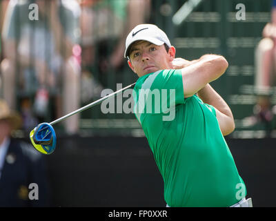 Orlando, FL, USA. 17th Mar, 2016. Rory McIlroy of Northern Ireland on the 1st tee during first round golf action - Stock Photo