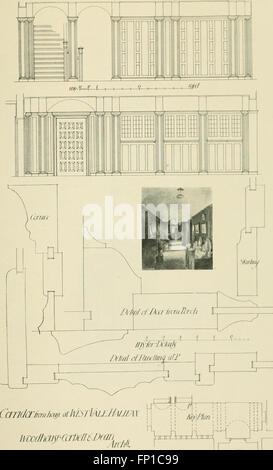 Garden city houses and domestic interior details (1913) - Stock Photo