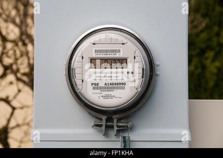 Digital electric meter for a mobile home park. - Stock Photo