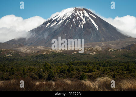 Mt. Ngauruhoe volcano in Tongariro National Park, New Zealand - Stock Photo