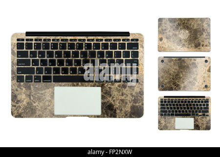 marble texture case for laptop on white background - Stock Photo
