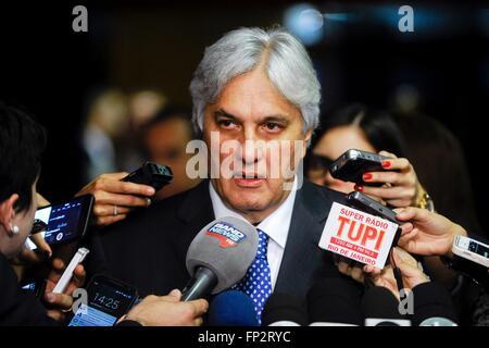 Brazilian Senator Delcidio Amaral speaks to the media September 30, 2015 in Brasilia, Brazil. Amaral reached a plea - Stock Photo
