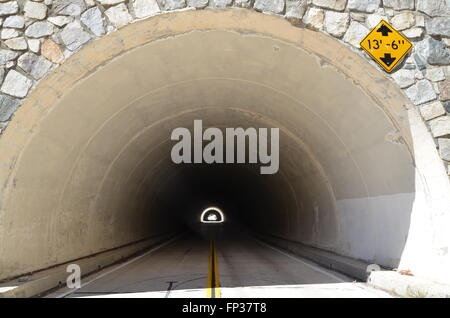 A view of a tunnel on Highway 2 in the San Gabriel Mountains east of Los Angeles, California - Stock Photo