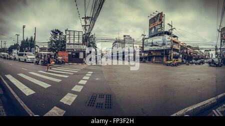 Busy street life in Pattaya city - Thailand - Stock Photo