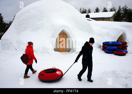 Snow activities at Igloo Hotel. Lapland, Finland. Snowman World Igloo Hotel in Rovaniemi in Lapland Finland. The - Stock Photo