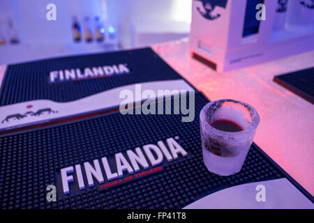 Frosted glass in the Ice Bar at Snowman World Igloo Hotel in Rovaniemi in Lapland Finland. The merriest place on - Stock Photo