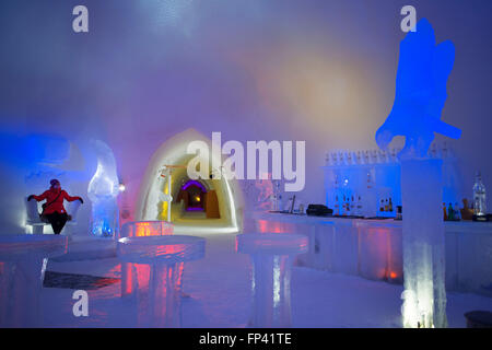 Ice Bar at Snowman World Igloo Hotel in Rovaniemi in Lapland Finland. The merriest place on the Arctic Circle. A - Stock Photo