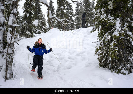 Salla, snowshoe trip to Ice Wall, Salla, Lapland, Finland. You can experience the winter nature even by walking - Stock Photo