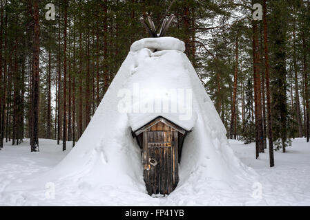 Salla, Lapland, Finland. Typical huts. Turf huts have very basic facilities and there is typically a stove or fireplace, - Stock Photo