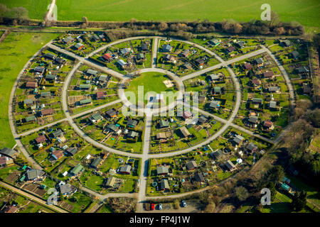 Aerial view, round Allotment Gardens Cäcilienstraße, allotments, garden houses, gazebos, Kamp-Lintfort, Lower Rhine, - Stock Photo