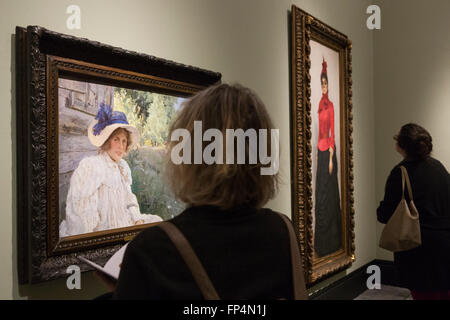 London, UK. 16 March 2016. The exhibition Russia and the Arts, The Age of Tolstoy and Tchaikovsky featuring portraits - Stock Photo