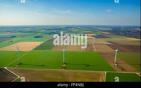 Aerial view, wind turbines, wind power plants Oermter dirt road, Issum Lower Rhine region, North Rhine Westphalia, - Stock Photo