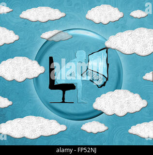 cloud computing concept digital illustration - Stock Photo