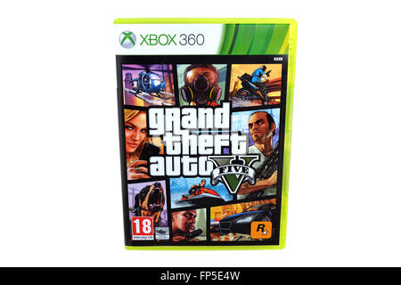 BARCELONA, SPAIN - DEC 27, 2014: The famous video game GTA V, also known as Grand Theft Auto, released by Rockstar, - Stock Photo