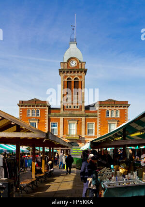 The outdoor street market and Market Hall in Chesterfield town centre north east Derbyshire England UK - Stock Photo