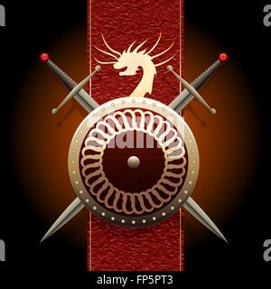 Shield wшth swords against medieval banner flag with symbol of a dragon - Stock Photo