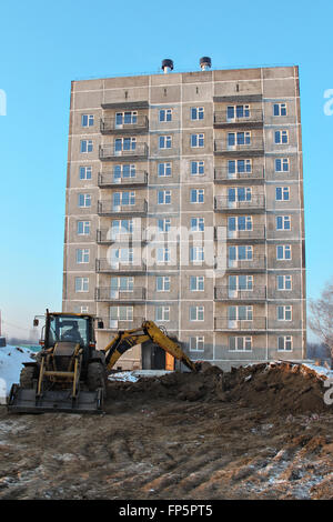 summer construction site prefabricated house - Stock Photo
