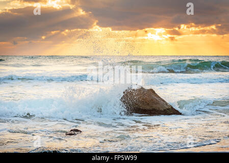 Scenic view of beautiful sunrise above the sea. - Stock Photo
