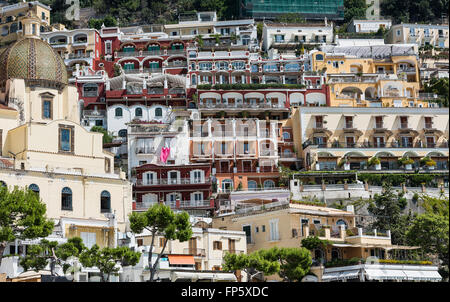 Coastal resort village of Positano, Amalfi Coast, Italy - Stock Photo