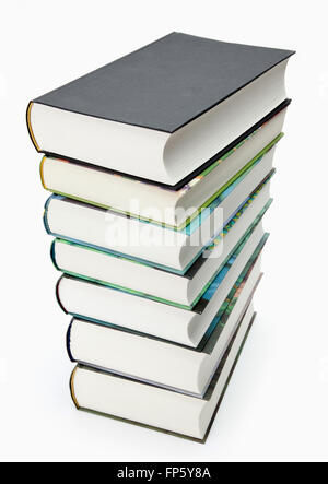 Stack of various hardcover books isolated on white - Stock Photo